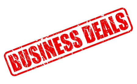 pledge: BUSINESS DEALS red stamp text on white