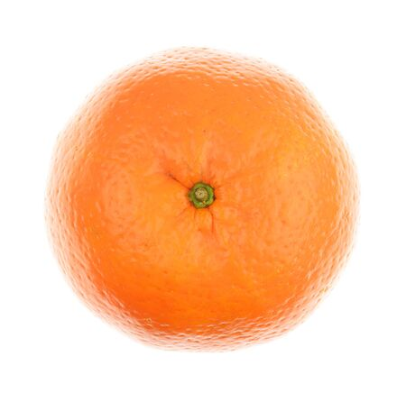 unpeeled: Top view of a orange isolated on a white background Stock Photo