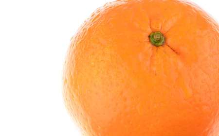 Macro close-up shot of Fresh Wet Orange on white background with copy space to left