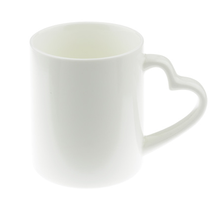 White Ceramic Mug White Heart Shaped Handles On White Background