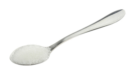 spoonful: Spoonful of white sugar isolated on white background
