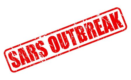 outbreak: SARS OUTBREAK red stamp text on white