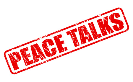 truce: PEACE TALKS red stamp text on white