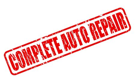 complete: Complete auto repair red stamp text on white