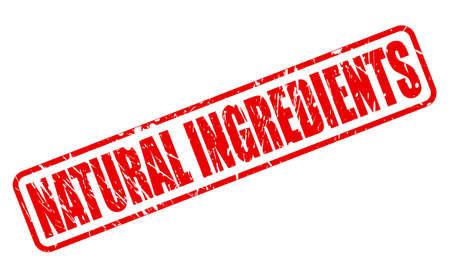 ingredients: NATURAL INGREDIENTS red stamp text on white