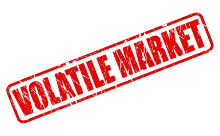unreliable: VOLATILE MARKET red stamp text on white Stock Photo