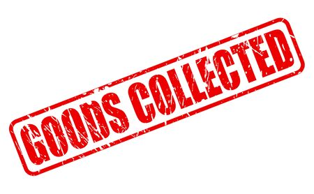 white goods: GOODS COLLECTED red stamp text on white