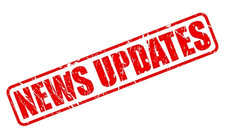 updates: NEWS UPDATES red stamp text on white Stock Photo