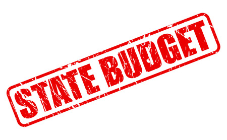 budgetary: STATE BUDGET red stamp text on white