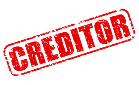 obligate: CREDITOR RED STAMP TEXT ON WHITE Stock Photo