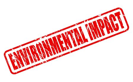 impacted: ENVIRONMENTAL IMPACT red stamp text on white