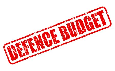 budgetary: DEFENCE BUDGET red stamp text on white Stock Photo