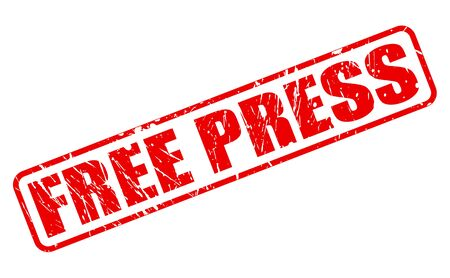 objectivity: FREE PRESS red stamp text on white