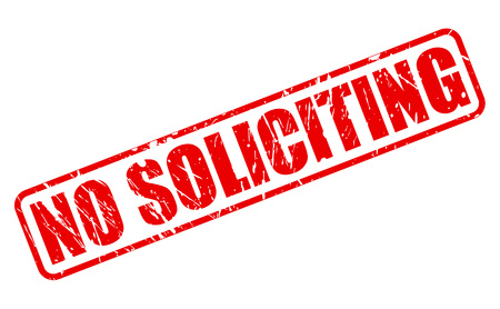 solicit: NO SOLICITING RED STAMP TEXT ON WHITE