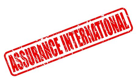 red stamp: ASSURANCE INTERNATIONAL RED STAMP TEXT ON WHITE Stock Photo