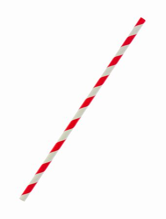 a straw: Red striped papaer straw isolated on white background