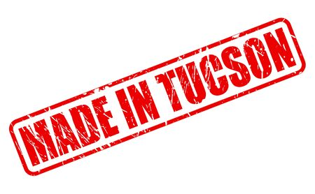 tucson: MADE IN TUCSON RED STAMP TEXT ON WHITE