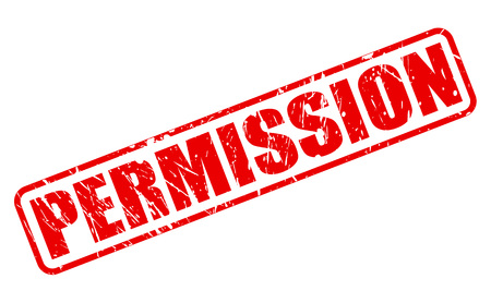 permission: PERMISSION RED STAMP TEXT ON WHITE