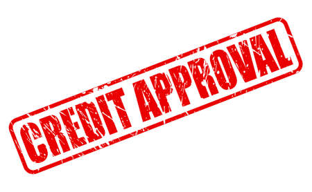 approbation: CREDIT APPROVAL RED STAMP TEXT ON WHITE