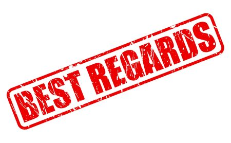 regards: BEST REGARDS RED STAMP TEXT ON WHITE