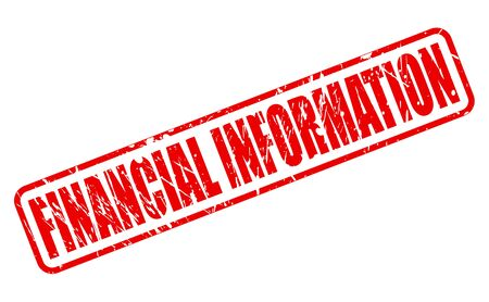 moneyed: FINANCIAL INFORMATION RED STAMP TEXT ON WHITE Stock Photo