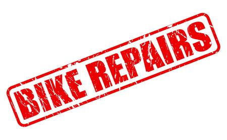 retrieval: BIKE REPAIRS RED STAMP TEXT ON WHITE