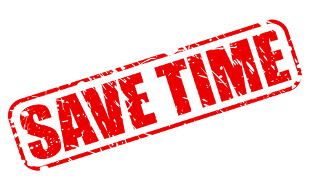 administer: SAVE TIME RED STAMP TEXT ON WHITE