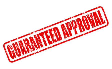 approval stamp: GUARANTEED APPROVAL RED STAMP TEXT ON WHITE Stock Photo