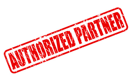 AUTHORIZED PARTNER RED STAMP TEXT ON WHITE