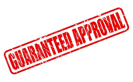 approval: GUARANTEED APPROVAL RED STAMP TEXT ON WHITE Stock Photo