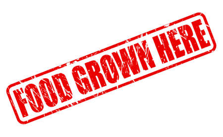 grown: FOOD GROWN HERE RED STAMP TEXT ON WHITE
