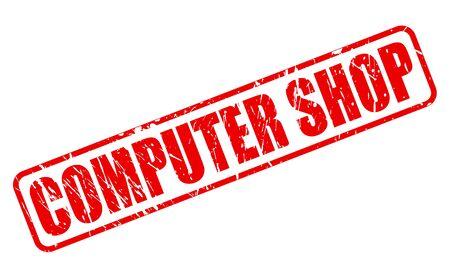 emporium: COMPUTER SHOP RED STAMP TEXT ON WHITE