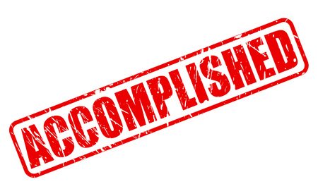 accomplish: ACCOMPLISHED red stamp text on white