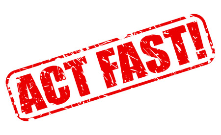 act: ACT FAST red stamp text on white Stock Photo
