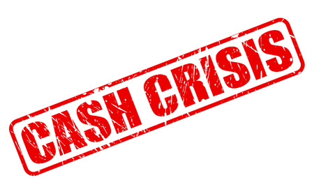 budgetary: CASH CRISIS red stamp text on white Stock Photo