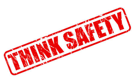 think safety: THINK SAFETY RED STAMP TEXT ON WHITE