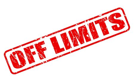 confine: OFF LIMITS RED STAMP TEXT ON WHITE