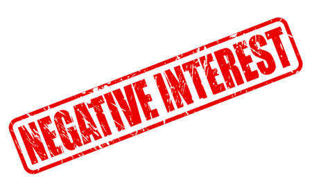 negative: NEGATIVE INTEREST red stamp text on white
