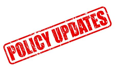 ensuring: POLICY UPDATES RED STAMP TEXT ON WHITE Stock Photo