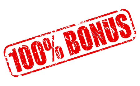 gratuity: 100 percent bonus red stamp text on white Stock Photo