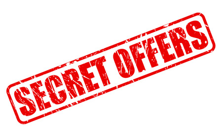 concealed: SECRET OFFERS RED STAMP TEXT ON WHITE Stock Photo