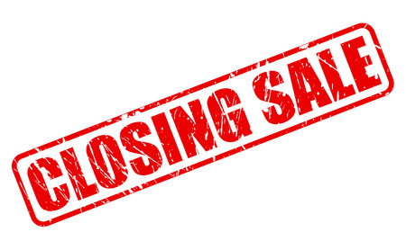 shutdown: CLOSING SALE RED STAMP TEXT ON WHITE Stock Photo