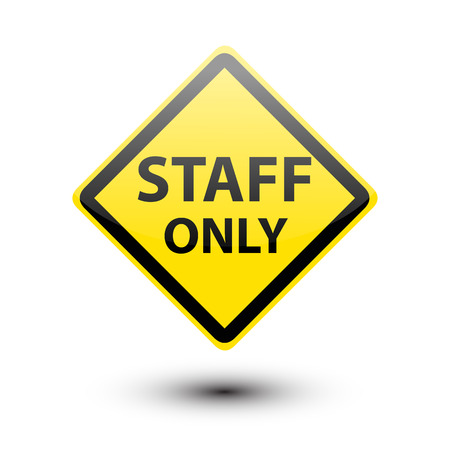 staff only: Staff only text on yellow sign isolated on a white Stock Photo