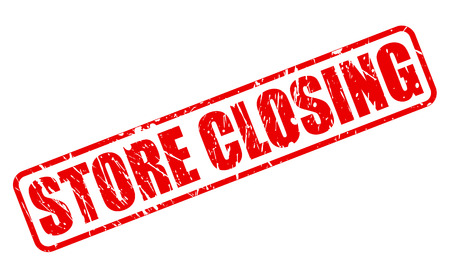 emporium: STORE CLOSING RED STAMP TEXT ON WHITE Stock Photo