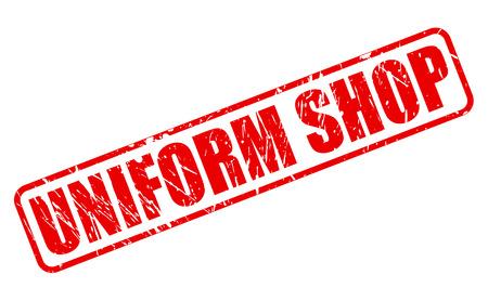 emporium: UNIFORM SHOP RED STAMP TEXT ON WHITE