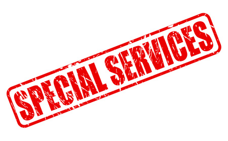 especial: SPECIAL SERVICES RED STAMP TEXT ON WHITE Stock Photo