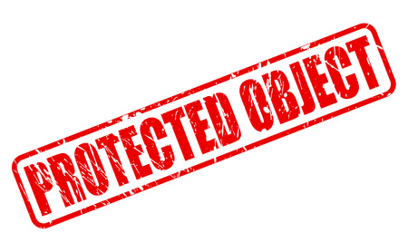 screened: PROTECTED OBJECT RED STAMP TEXT ON WHITE