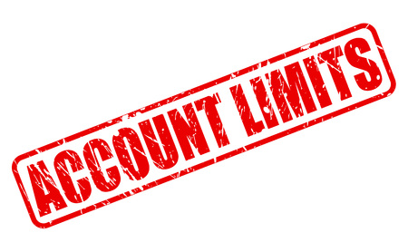 confine: ACCOUNT LIMITS RED STAMP TEXT ON WHITE Stock Photo