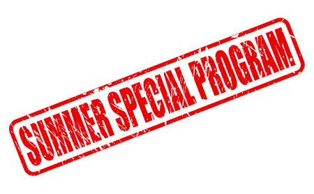 cousin: SUMMER SPECIAL PROGRAM red stamp text on white Stock Photo