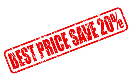administer: BEST PRICE SAVE 20% red stamp text on white Stock Photo